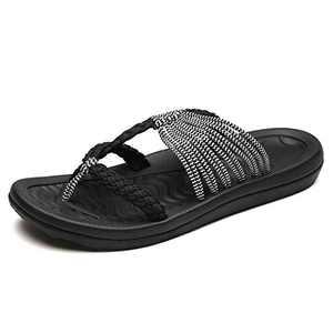 UTENAG Comfort Flat Sandals for Womens Summer Black Grey Color Strappy Flip Flops Ladies Gradiator Dress Sandles Size 5