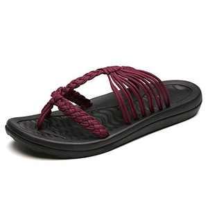 UTENAG Comfort Flat Sandals for Womens Summer Red Color Strappy Flip Flops Ladies Gradiator Dress Sandles Size 7