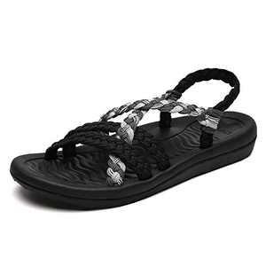 UTENAG Comfort Flat Sandals for Womens Summer Black Grey Color Strappy Gradiator Dress Sandles Size 6