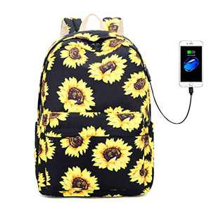 Lmeison Floral Backpack for Teen Girls, Waterproof Sunflower School Bookbag Set for Hight School College with USB Charging Port, Polyester Travel Casual Daypack 15inch Laptop Bag for Women