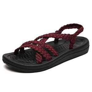 UTENAG Comfort Flat Sandals for Womens Summer Red Color Strappy Gradiator Dress Sandal Size 7