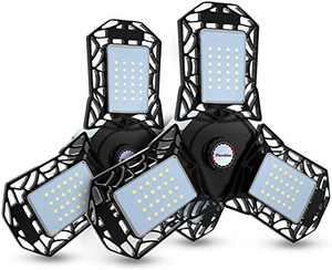 Led Garage Lights, 2 Pack Deformable Garage Ceiling Lights, CRI>80 Led Shop Lights with 3 Adjustable Panels, 3 Prong Garage Work Lights for Workshop Basement Bay Lighting