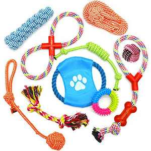 Dog Chewing Rope Toys Set for Aggressive Chewers Indestructible Cotton Bite Chew Toys Puppy Teething Toy Tug of War for Small Medium Dogs Play B 10 Pack