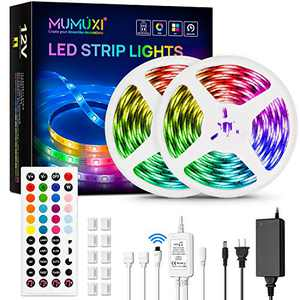 MUMUXI LED Strip Lights, 32.8FT LED Music Sync Color Changing Lights with 44keys Music Remote Controller and 12V5APower Supply, RGB SMD5050 300 led Lights for Room, Bedroom, TV, Party