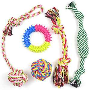Dog Chewing Rope Toys Set for Aggressive Chewers Indestructible Cotton Bite Chew Toys Puppy Teething Toy Tug of War for Small Medium Dogs Play A 5 Pack
