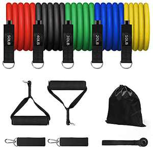 Lampelc 150LB Resistance Bands Set Exercise Accessories for Home Workouts, Physical Therapy - Exercise Bands with Handles, Door Anchor, Ankle Straps and Workout Guide