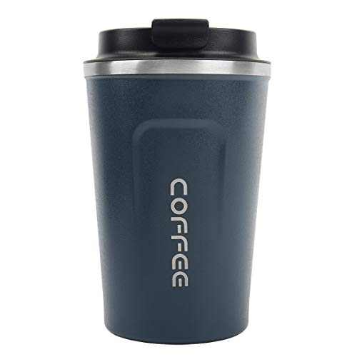 Double Walled Travel Mug,Insulated Coffee Cup,Thermos cup,Stainless vacuum cup With Leakproof Flip double buckle for Keep Hot/Ice Coffee,Tea and Beer ,12oz(380ml)