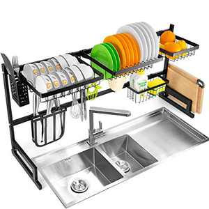 YIKA Over The Sink Dish Rack (34''), 2 Tier Dish Drying Rack, Large Dish Drainer Shelf with Utensil Holder, Over Sink Kitchen Stainless Steel Storage Rack Space Saver Display Stand