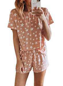 Dokotoo Lounge Sets for Womens Summer Fashion Two Piece Printed Pajama Set Short Sleeve Casual Sleepwear Cute Pjs Soft Short Pajamas Top and Shorts Pink Small