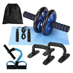Lixada AB Wheel Roller Kit, Abdominal Press Wheel Roller with Push-UP Bar Jump Rope and Knee Pad Portable Muscles Exercise Equipment Kit for Home Gym Workout Muscle Strength Fitness