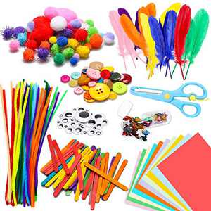 WATINC 800Pcs DIY Art Craft Kit for Kids Creative Pompoms Pipe Cleaners Feathers Wiggle Googly Eyes Sequins Buttons Colorful Wooden Sticks Colorful Construction Paper School Projects Party Supplies