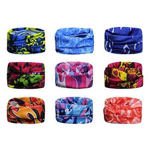 Scott Edward 9 PCS Multi-Function Neck Gaiter Bandanas Face Shield Ski Warmer Wristband Headbands