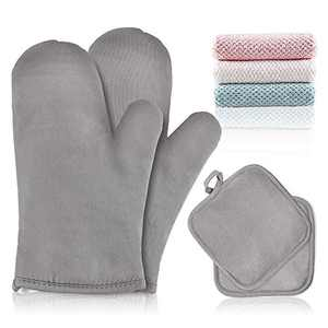 Oven Mitts Pot Holders Non-Slip Oven Gloves Kitchen Heat Resistant Cooking Gloves for Cooking, Grilling, Baking, Barbecue