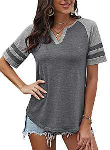 Yidarton Women's Color Block Short Sleeve T Shirt Casual V Neck Tunic Tops(Gray,XL)