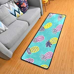 Non Slip Hallway Long Runner Rug 72 x 24 in Anti Fatigue Soft Carpet Comfort Floor Standing Mat for Entryway Bathroom Living Room Bedroom Kitchen Pineapple Fruits
