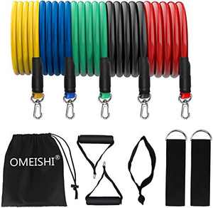 omeishi Exercise Bands Resistance Bands for Men Women,Bands for Working Out or Home -Stackable Up to 100lbs. Perfect Muscle Builder for Arms, Back, Leg, Chest, Belly, Glutes 11Pack