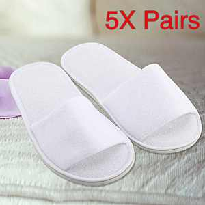 RINKOUa 5 Pairs Spa Slippers Spa Hotel Guest Slippers Open Toe Towelling Flip Flops Spa Slippers Guest Slippers Hotel Slippers in Salons Guest Room Hospital Washable Not Disposable (White)