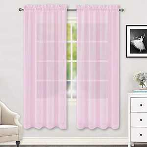 HUTO Light Pale Baby Pink Sheer Curtains 72 Inches Long for Girls Room Rod Pocket Window Transparent Voile Curtain Panels for Living Room Kids Bedroom 2 Panels