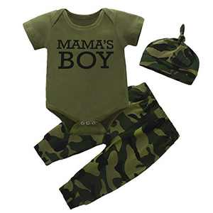Newborn Baby Kid Boy Girl Clothes Camouflage Romper Outfit Set Mama's Boy Girl Short Sleeves Jumpsuit + Pants + Hat 3Pcs Set(9-12 Months, Mama's boy-2)