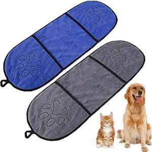 WAFUNNE 2pcs Dog Bath Towel Set with Pockets Microfiber Super Absorbant for Medium Small Dogs Pet Shammy Doggy Towels Dark Blue Gray