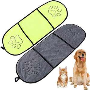 WAFUNNE 2pcs Dog Bath Towel Set with Pockets Microfiber Super Absorbant for Medium Small Dogs Pet Shammy Doggy Towels Yellow Gray
