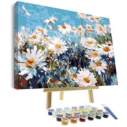 Vigeiya 16x20in Oil Paint by Numbers for Adults Beginners Include Framed Canvas and Wooden Easel with Brushes and Acrylic Pigment (Daisy Flower)