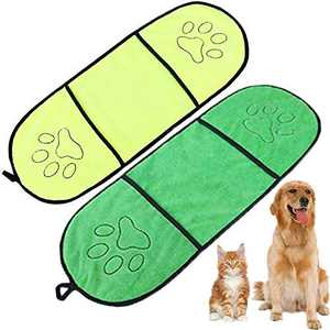 WAFUNNE 2pcs Dog Bath Towel Set with Pockets Microfiber Super Absorbant for Medium Small Dogs Pet Shammy Doggy Towels Yellow Green