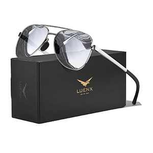 LUENX Aviator Sunglasses for Men Women Polarized - Mirrored Driving uv 400 Protection with case(Silver)
