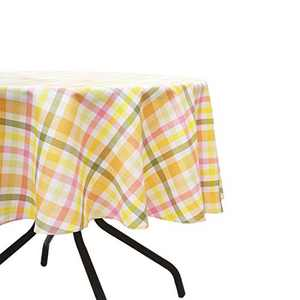 HARORBAY Round Tablecloth 70 Inch for Outdoor, Fall Checkered Picnic Table Cloth, Waterproof Fabric Table Cover for Parties Camping (Yellow)