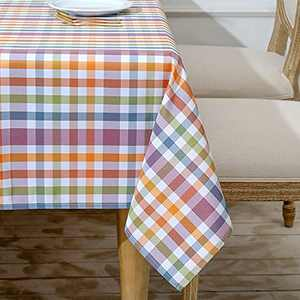 HARBORBAY Waterproof Fabric Tablecloths Rectangle 60 X 104,Wrinkle and Stain Resistant Polyester Plaid Table Cloths for Party,Kitchen Dining Table Cover for Autumn and Winter,Purple