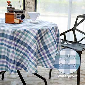 HARORBAY Round Tablecloth 60 Inch for Outdoor, Fall Checkered Picnic Table Cloth, Waterproof Fabric Table Cover for Parties Camping (Blue)
