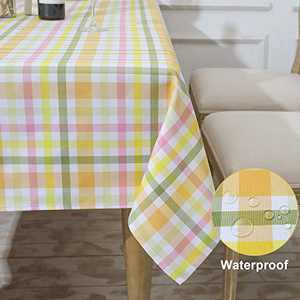 HARORBAY Outdoor Table Cloth for Rectangle Tables, Fall Checkered Tablecloths, Waterproof Table Cover for Picnic Parties (60 x 84 Inch, Yellow)