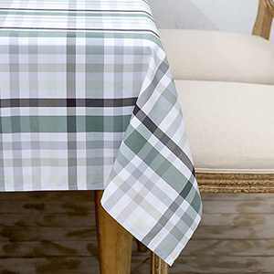 HARBORBAY Waterproof Fabric Tablecloths Rectangle 52 X 70, Wrinkle and Stain Resistant Polyester Plaid Table Cloths for Party,Kitchen Dining Table Cover for Autumn and Winter,Grey