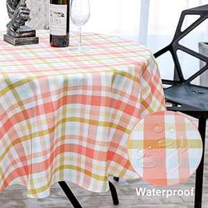HARORBAY Round Tablecloth 60 Inch for Outdoor, Fall Checkered Picnic Table Cloth, Waterproof Fabric Table Cover for Parties Camping (Pink)