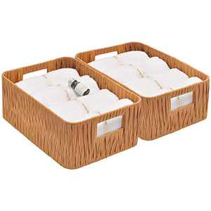 """StorageWorks Hand-Woven Decorative Baskets with Handles, Woven Baskets for Storage, Walnut, 12.6"""" x 8.5"""" x 5.1"""", 2-Pack"""