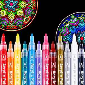 Acrylic Marker Pens-12 Colors Acrylic Water Based Paint Pens for Rocks Painting,Canvas, Photo Album, DIY Craft, School Project, Glass, Ceramic, Wood, Metal