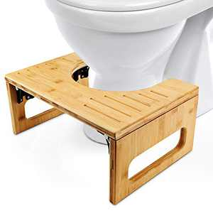 DadyMart Toilet Stool, Bamboo Foldable Stool for Bathroom, 7 Inches, Natural Color