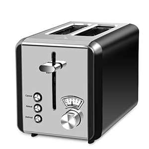 MIC Toaster 2 Slice Wide Slot, 6 Browning Settings,Polished Stainless Steel Housing Not Hot Toaster 3 Functions Cancel/Reheat/Defrost, High-Lift Removal Crumb Tray 850 W, Black