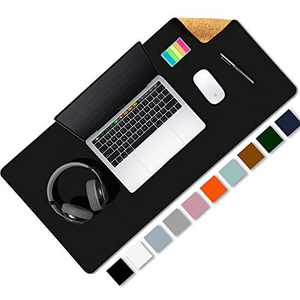 """Aothia Office Desk Pad, Natural Cork & PU Leather Dual Side Large Mouse Pad, Laptop Desk Table Protector Writing Mat Easy Clean Waterproof for Office Work/Home/Decor (Black,23.6""""x13.7"""")"""