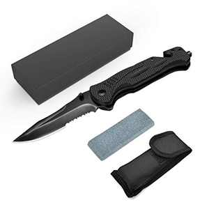Folding Pocket Knife, Prolife Stainless Steel Portable Tactical Hunting Knife for Camping Hunting Fishing, with Titanium Coated Blade, Belt Clip, Safety Liner-Lock
