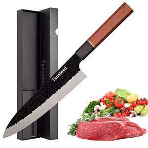 Tensteed 8 Inch Chef Knife, 3 Layer 9CR18MOV Clad Steel w/octagon Handle Gyuto Knife