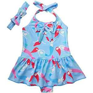 Jastore Baby Girls Swimwear One Piece Swimsuits Beach Wear with Headband (5-6X, Style 4-Sky Blue)