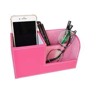TECKE Home Office PU Leather Desk Organizer Multifunctional 3 Compartment Desktop Storage Box for Business Card, Pen, Pencil, Mobile Phone, Remote Control(Rose Red)