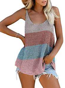 Zecilbo Womens Casual V Neck Striped Knitted Tank Tops Fashion Summer Loose Sleeveless Blouses Shirts Multicolor X-Large