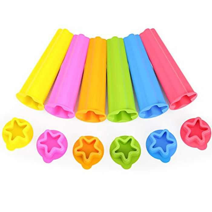 Ice Lolly Moulds, Joyoldelf 6 Pack Ice Lolly Mould Silicone, Food Grade BPA Free, Star Popsicle Mould with Non-Spill Lid Reusable Ice Pop Mould for Kids and Adults