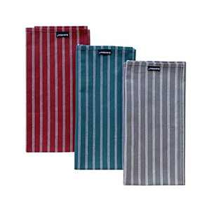 HARORBAY Cotton Dish Towels Set of 3,Multi-Purpose for Cooking Baking (Grey Red Blue Stripes, 20 x 28 Inch)