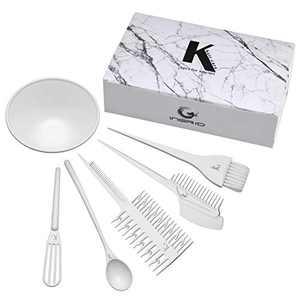 CHIC DIARY Hair Dye Set Professional Salon Hair Coloring Kit DIY Hair Tint Tools Mixing Brush Comb Bowl 6 Piece set (White)