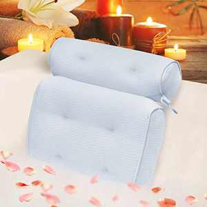 Idle Hippo Bath Pillow Organic Tencel Bathtub Pillow - Upgraded 3D Air Mesh Bath Pillow with Head, Neck, Back and Shoulder - Ultra Soft and Quick Dry Spa Pillow for Bathtub