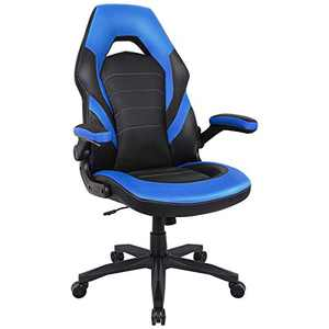 RIMIKING Gaming Chair Racing Computer Desk Executive Office Chair, 360°Swivel Flip-up Arms Ergonomic Design for Lumbar Support Women Men Adults