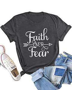 Dauocie Womens Faith Over Fear Letter Print Short Sleeve T Shirt Casual Arrow Christian Graphic Tees Tops
